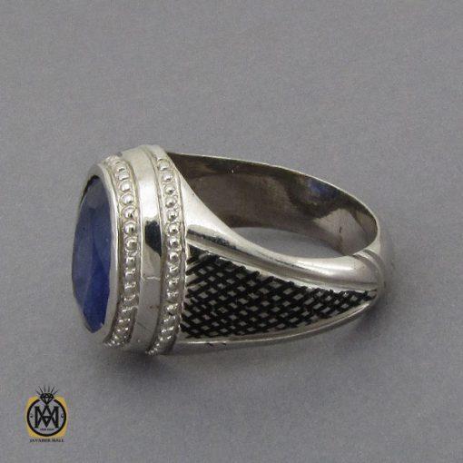انگشتر یاقوت کبود خوش رنگ مردانه دست ساز - کد 10284