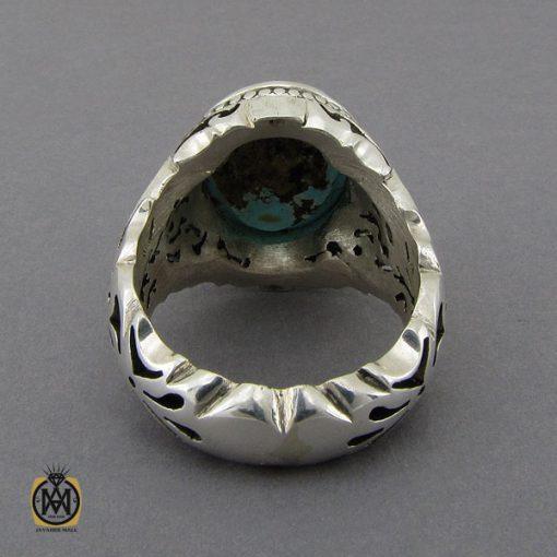 انگشتر فیروزه نیشابوری خوش رنگ مردانه دست ساز - کد 10282 - 3 106 510x510
