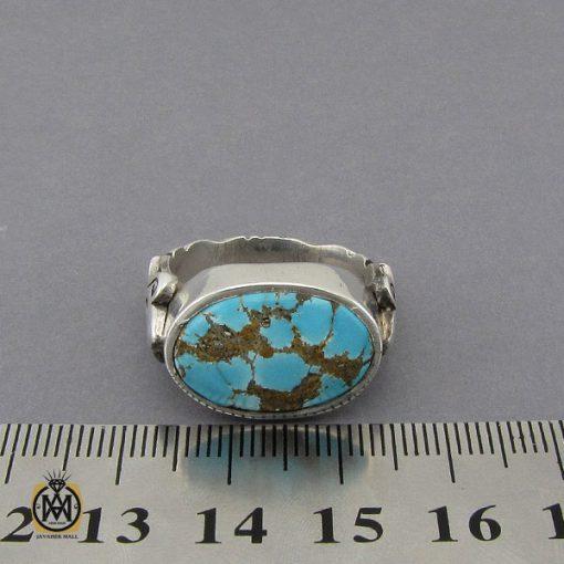 انگشتر فیروزه نیشابوری خوش رنگ مردانه دست ساز - کد 10281 - 4 104 510x510