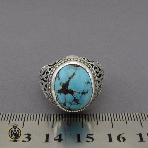 انگشتر فیروزه نیشابوری خوش رنگ مردانه دست ساز - کد 10282 - 4 105 510x510
