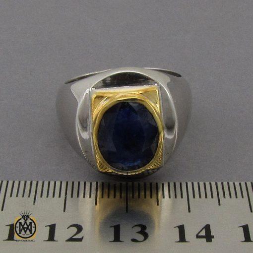 انگشتر یاقوت کبود خوش رنگ مردانه دست ساز - کد 10283 - 4 106 510x510
