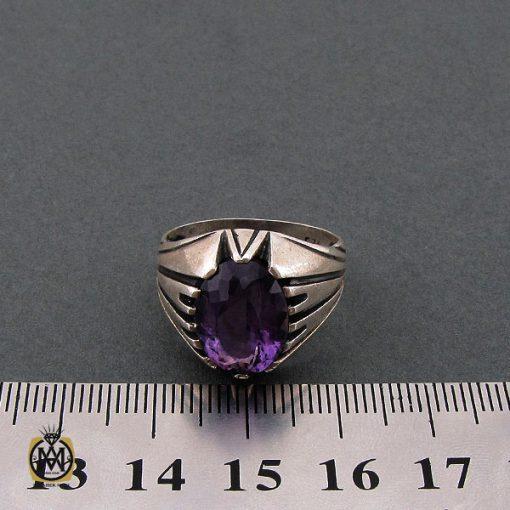 انگشتر آمتیست مردانه خوش رنگ و معدنی - کد 10210 - 4 11 510x510