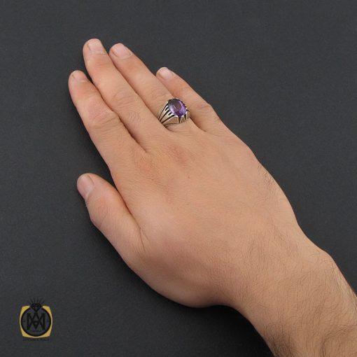انگشتر آمتیست مردانه خوش رنگ و معدنی - کد 10210 - 5 11 510x510