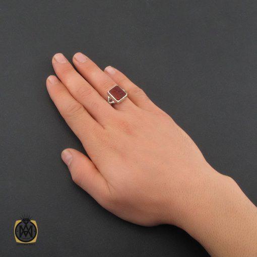 انگشتر عقیق یمن با حکاکی یا حیدر مدد مردانه دست ساز - کد 10316