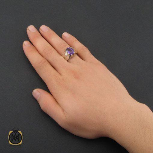 انگشتر آمتیست خوش رنگ مردانه دست ساز - کد 10331 - 5 139 510x510