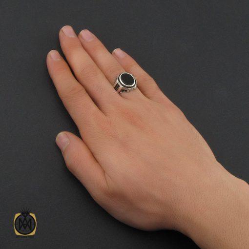 انگشتر عقیق مشکی مردانه - کد 10377