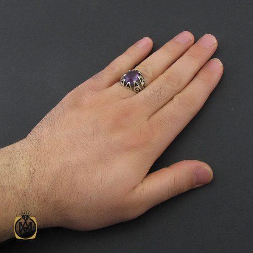 انگشتر آمتیست خوش رنگ مردانه - کد 10401 - 5 220 510x510