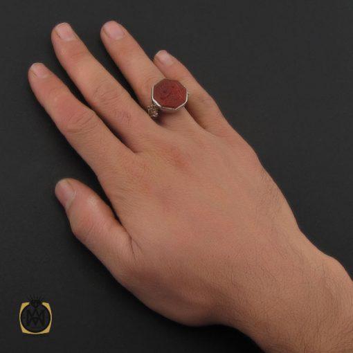 انگشتر عقیق یمن با حکاکی یا ستار العیوب دست ساز مردانه - کد 10232 - 5 35 510x510