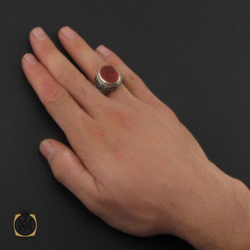 انگشتر عقیق یمن با حکاکی علی حبه جنه مردانه دست ساز - کد 10237