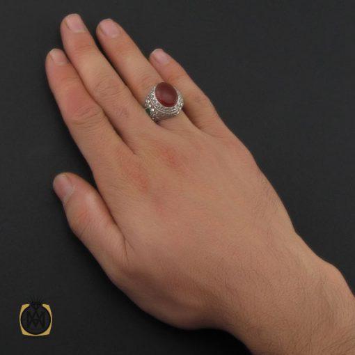 انگشتر عقیق یمن و زمرد مردانه دست ساز - کد 10238