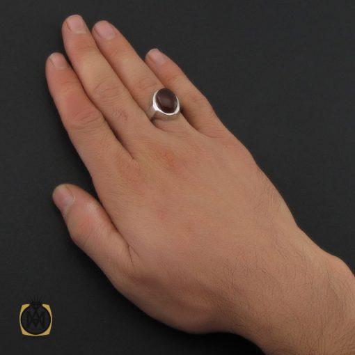 انگشتر عقیق یمن خوش رنگ مردانه دست ساز - کد 10239 - 5 42 510x510