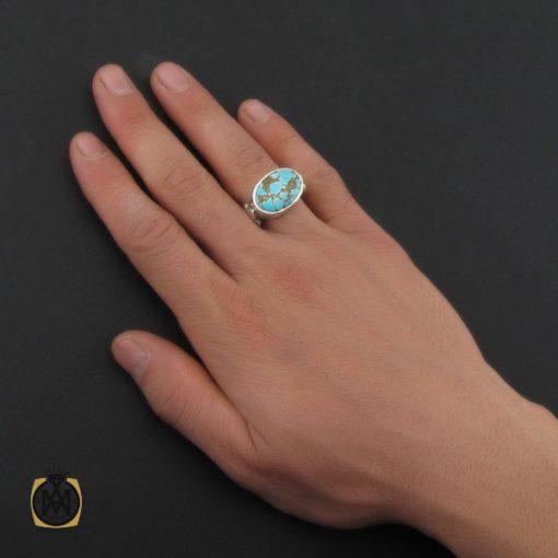 انگشتر فیروزه نیشابوری خوش رنگ مردانه دست ساز - کد 10281 - 5 79 510x510