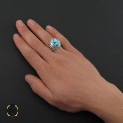 انگشتر فیروزه نیشابوری خوش رنگ مردانه دست ساز - کد 10282 - 5 80 510x510