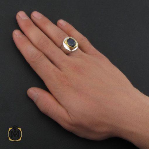 انگشتر یاقوت کبود خوش رنگ مردانه دست ساز - کد 10283 - 5 81 510x510