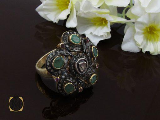 انگشتر الماس اصل و زمرد طرح نوشاد زنانه - کد 2184 - 00 77 510x383