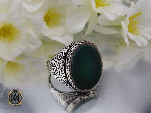 انگشتر عقیق سبز مردانه - کد 10444 - 00 96 510x383