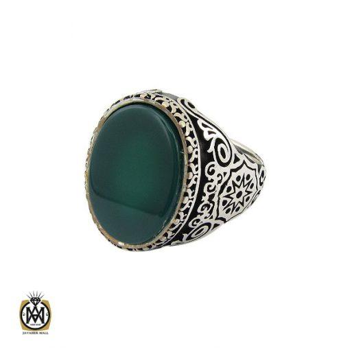 انگشتر عقیق سبز مردانه - کد 10444 - 1 100 510x510