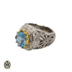 انگشتر توپاز آبی خوش رنگ مردانه - کد 10034 - 1 107 247x247