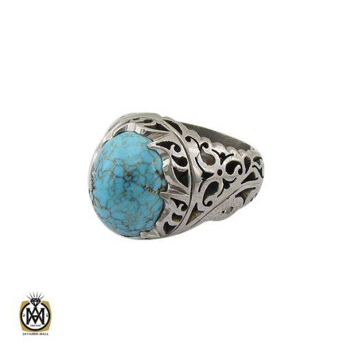 انگشتر فیروزه نیشابوری و برلیان اصل مردانه خوش رنگ - 10458 - 1 160 510x510
