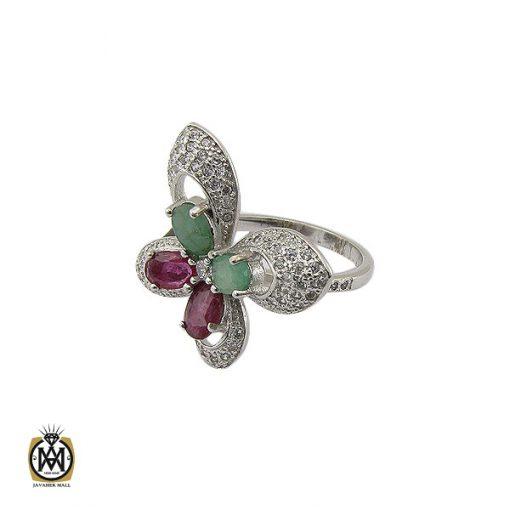 انگشتر یاقوت سرخ و زمرد طرح پروانه زنانه – کد ۲۲۱۰