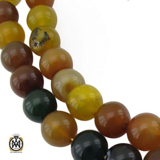تسبیح ۳۳ دانه عقیق سبز و زرد درشت – کد ۴۲۳۳