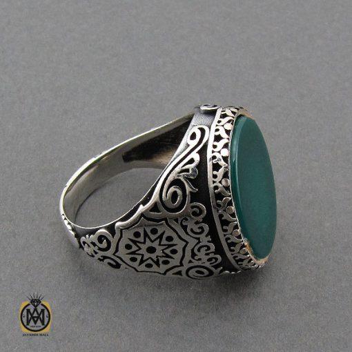 انگشتر عقیق سبز مردانه - کد 10444 - 2 101 510x510