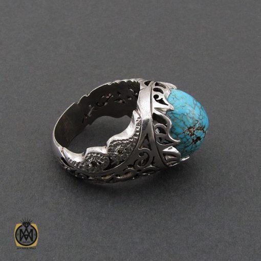 انگشتر فیروزه نیشابوری و برلیان اصل مردانه خوش رنگ - 10458 - 2 160 510x510