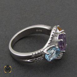 انگشتر آمتیست، سیترین و توپاز آبی طرح روناک زنانه - کد 2209