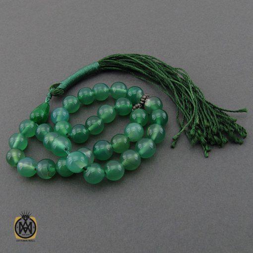 تسبیح 33 دانه عقیق سبز خوش رنگ - کد 4235 - 2 58 510x510