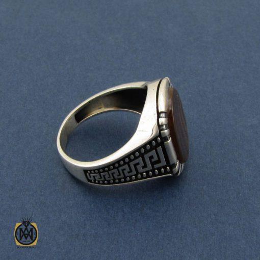 انگشتر عقیق سلیمانی طرح ورساچه مردانه - کد 10439 - 2 96 510x510
