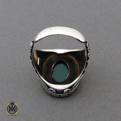 انگشتر عقیق سبز مردانه - کد 10444 - 3 100 510x510