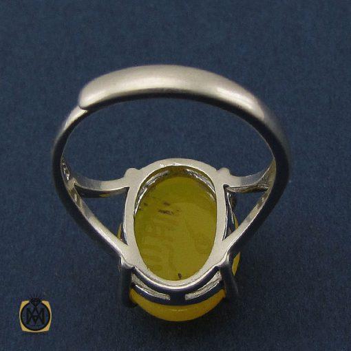 انگشتر عقیق زرد با حکاکی شرف الشمس طرح دیبا زنانه - کد 2253