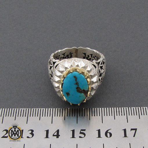 انگشتر فیروزه نیشابوری مردانه مرغوب و خوش طبع - 10455 - 4 155 510x510