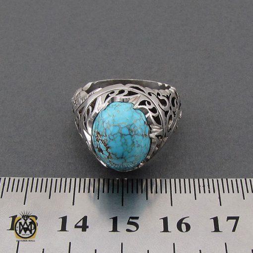 انگشتر فیروزه نیشابوری و برلیان اصل مردانه خوش رنگ - 10458 - 4 158 510x510