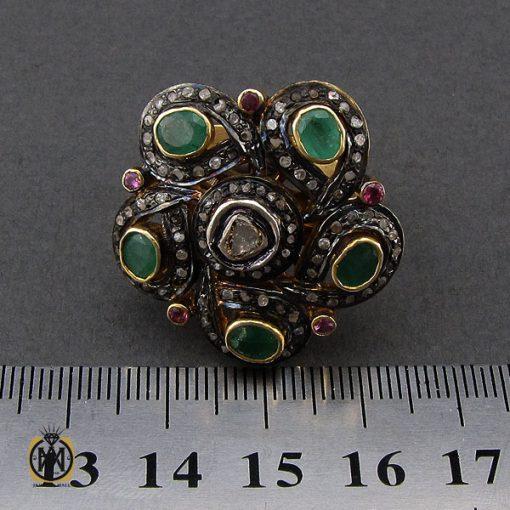 انگشتر الماس اصل و زمرد طرح نوشاد زنانه - کد 2184 - 4 81 510x510
