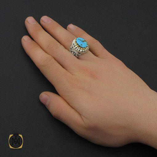انگشتر فیروزه نیشابوری مردانه مرغوب و خوش طبع - 10455 - 5 135 510x510