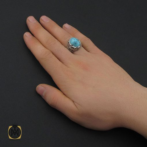 انگشتر فیروزه نیشابوری و برلیان اصل مردانه خوش رنگ - 10458 - 5 137 510x510