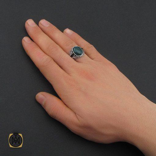 انگشتر عقیق سبز مردانه - کد 10471 - 5 180 510x510