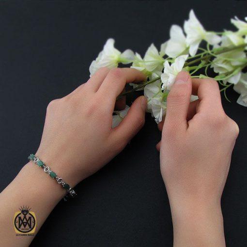 دستبند زمرد معدنی طرح خاطره زنانه - کد 1093 - 5 209 510x510
