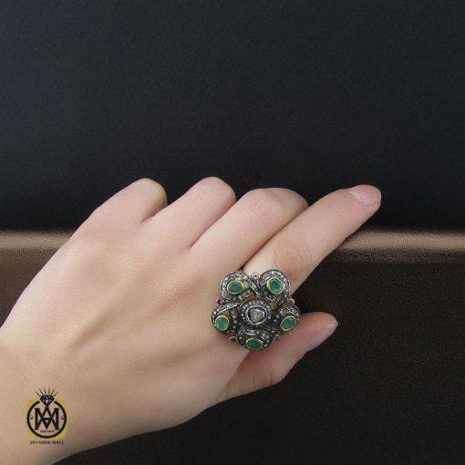انگشتر الماس اصل و زمرد طرح نوشاد زنانه - کد 2184 - 5 69 510x510