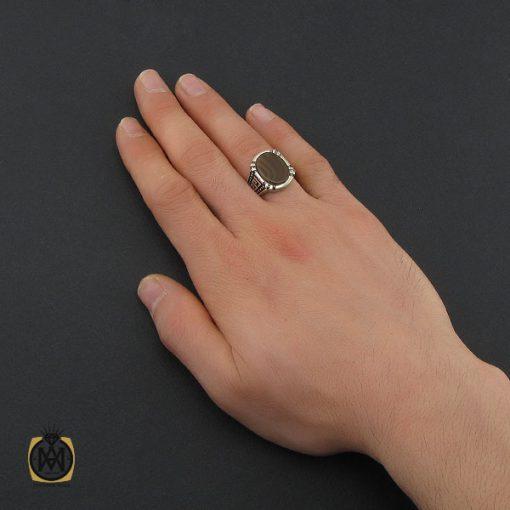 انگشتر عقیق سلیمانی طرح ورساچه مردانه - کد 10439 - 5 83 510x510