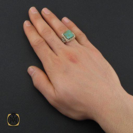 انگشتر فیروزه نیشابوری مردانه دست ساز - کد 10449 - 6 14 510x510