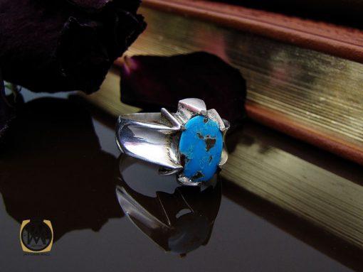 انگشتر فیروزه نیشابوری مردانه دست ساز– کد 10504 - 00 15 510x383
