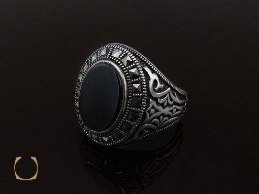 انگشتر عقیق مشکی مردانه - کد 10670 - 00 261 510x383