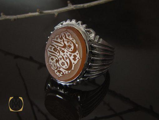 انگشتر عقیق یمن با حکاکی شرف الشمس و عباس ابو الغیره مردانه – کد 10533 - 00 44 510x383