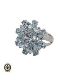 انگشتر توپاز آبی خوش رنگ مردانه - کد 10034 - 1 199 247x247