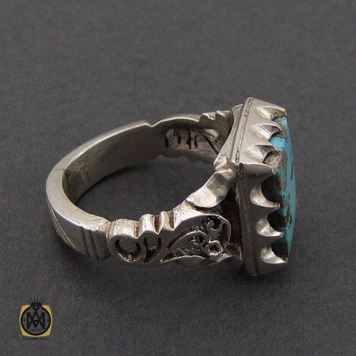 انگشتر فیروزه نیشابوری مردانه دست ساز– کد 10505 - 2 16 510x510