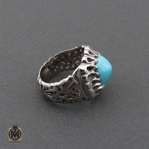 انگشتر فیروزه نیشابوری مردانه خوش رنگ هنر دست استاد احمدی - کد 10658 - 2 246 510x510