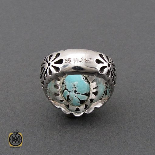 انگشتر فیروزه نیشابوری مردانه خوش رنگ هنر دست استاد احمدی - کد 10658 - 3 245 510x510
