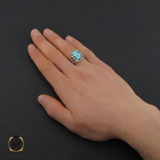انگشتر فیروزه نیشابوری مردانه دست ساز– کد 10505 - 5 10 510x510